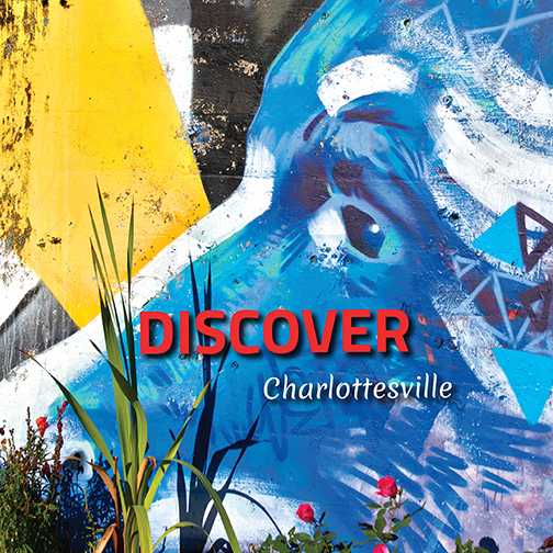 Cover image for Discover Charlottesville 5th Edition (2020). Text reads: Discover Charlottesville. Background image of graffiti featuring blue face.