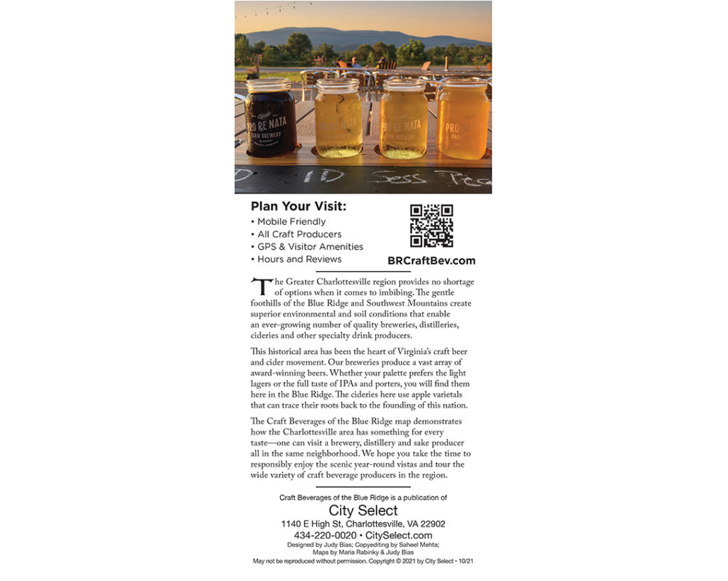 Craft Beverage Guide of the Blue Ridge Back Cover 2021